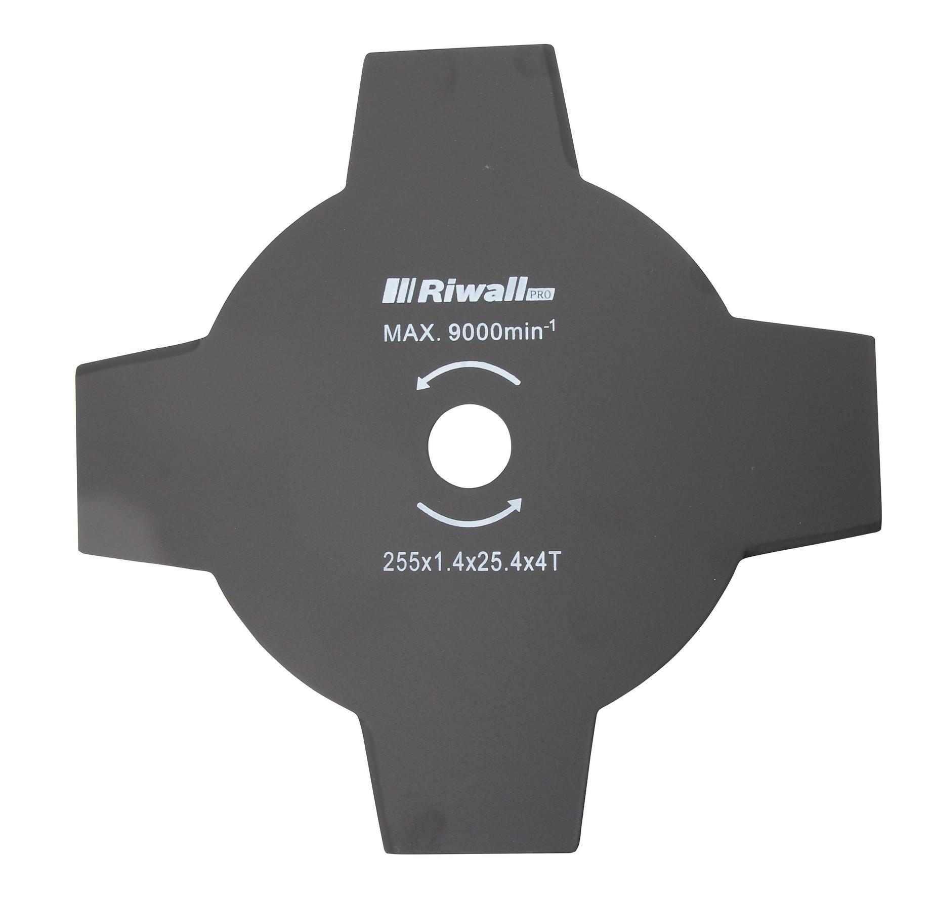 Riwall PRO Žací nůž čtyřzubý ke křovinořezu pr. 255mm, vnitřní průměr 25,4mm, tloušťka 1,4mm