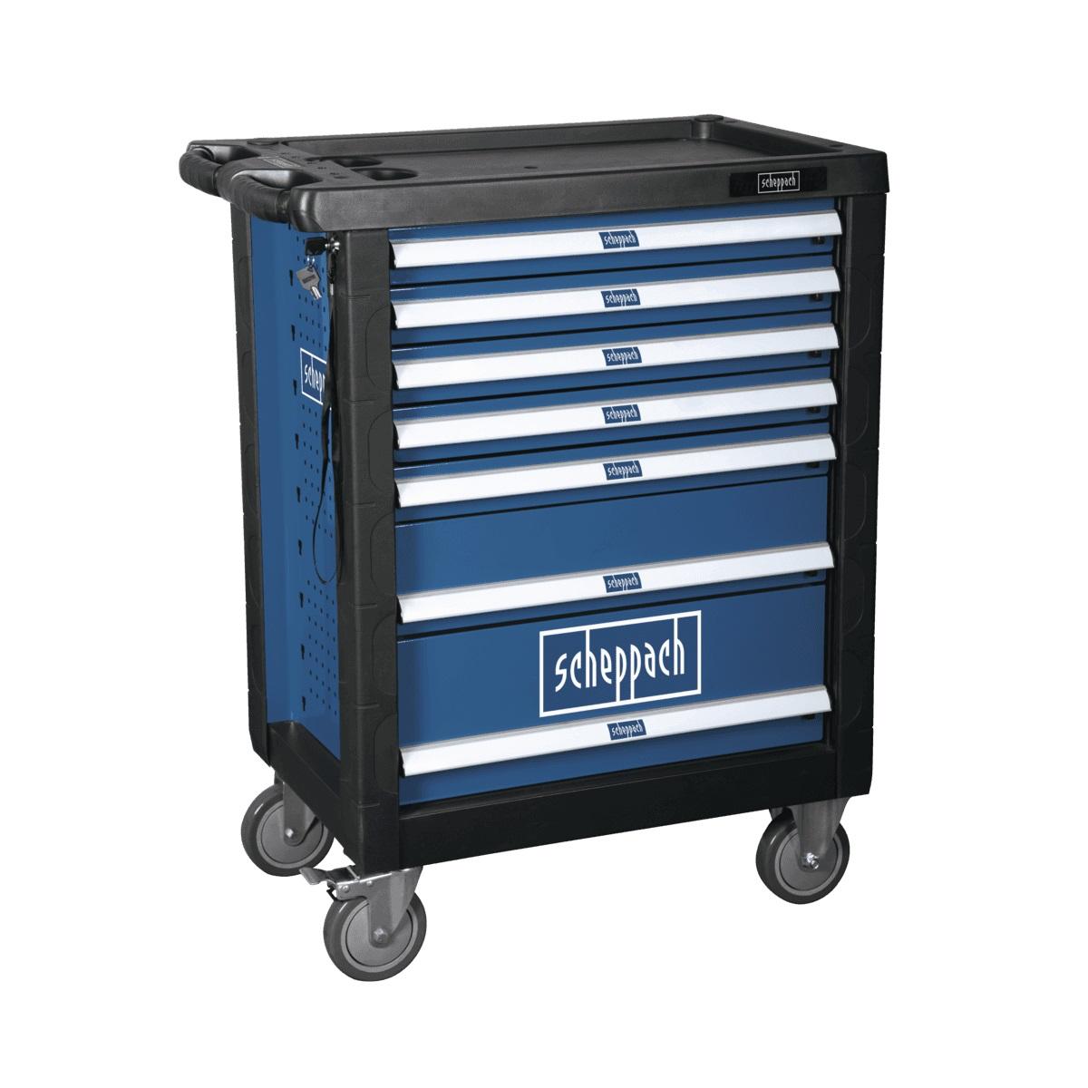 Scheppach TW 1000 dílenský vozík s nářadím, 7 zásuvek, 263 dílů