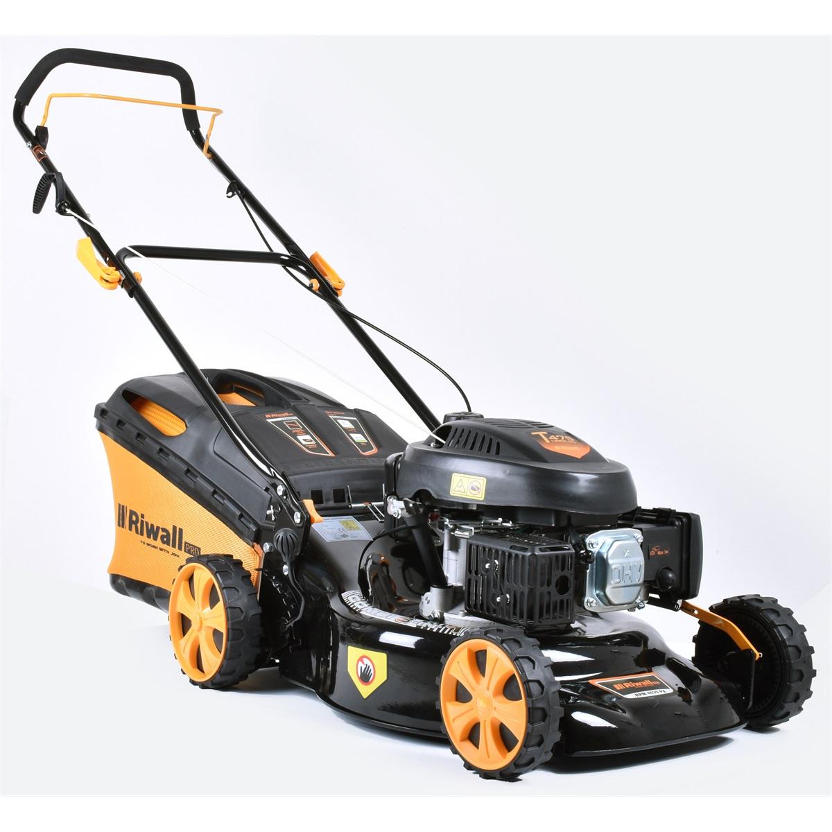 multifunkční travní sekačka 3 v 1 s benzinovým motorem bez pojezdu Riwall PRO RPM 4635 PX