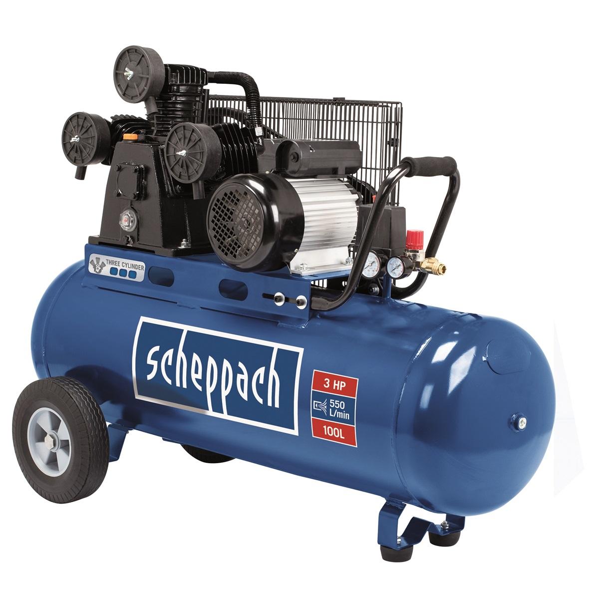 Scheppach HC 550 tc olejový tříválcový řemenový kompresor (rozbalený, po opravě lopatek motoru)