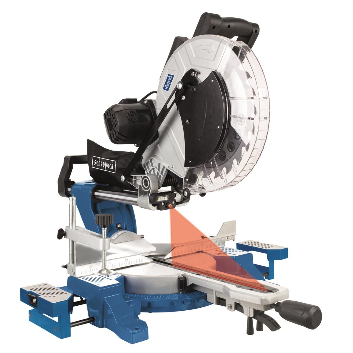 Scheppach HM 140 L pokosová pila s potahem, laserem a oboustranným nastavením náklonu