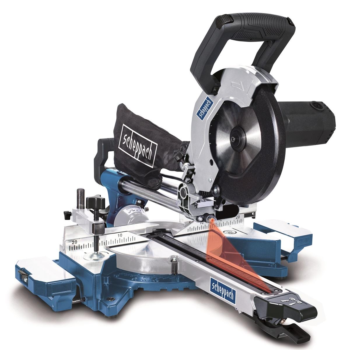 Scheppach HM 90 MP dvourychlostní multifunkční pokosová pila s potahem, laserem a LED osvětlením